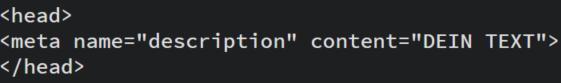 html-Code zur Erstellung einer Meta Description